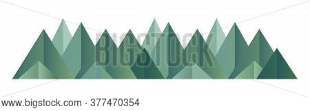 Low Poly Green Mountains Range. Vector Polygonal Shapes Illustration