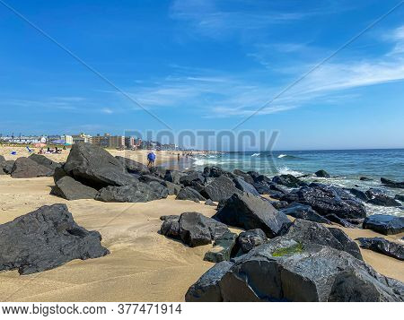A Scenic View Of The Beach In Long Branch Along The Jersey Shore.
