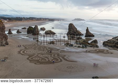 Labyrinth By Circles In The Sand, Bandon Oregon
