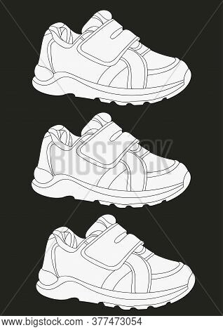 Three White Sneakers Realistic Footwear Set. Fashionable Sneakers