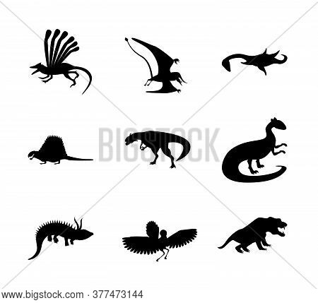 Set Of Jurassic Reptile. Dinosaur Silhouettes In Modern Flat Design. Dino Isolated On White Backgrou