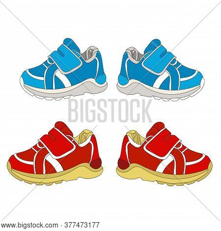 Sneakers And Loafers Realistic Footwear Set For Babyboy And Babygirl