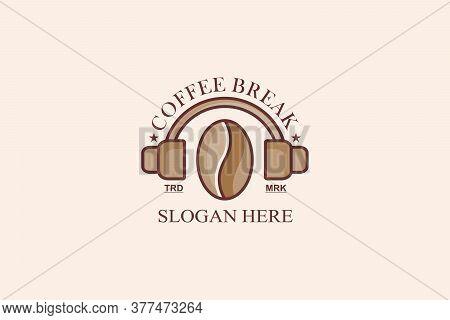 Coffee Bean, Music Earphone, Coffee Break Logo Design Concept.