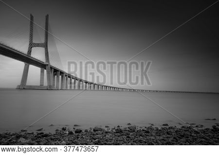 Vasco Da Gama Bridge, The Longest Bridge In Europe, Spans The Tagus River, In Lisbon, Portugal. Long