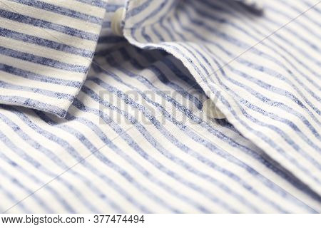 Close Up Of Men's Striped Shirt. Cotton Fabric.