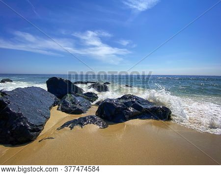 The Surf With Blue Sky On A Beautiful Summer Day In Long Branch New Jersey.