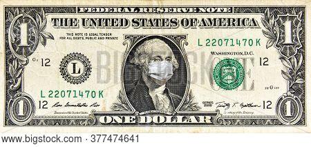 Coronavirus In Usa, 1 Dollar Money Bill With Face Mask. Covid-19 Affects Global Stock Market. World