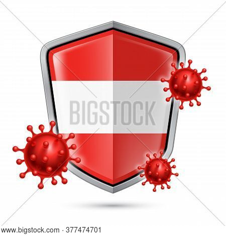 Flag Of Austria On Metal Shiny Shield Icon And Red Corona Virus Cells. Concept Of Health Care And Sa