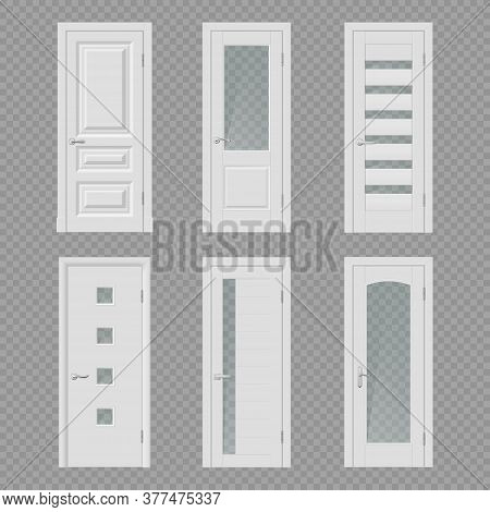 White Interior Door Realistic Mockups Of Vector Room Entrances And Doorways With Wooden Frames, Meta