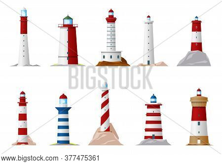 Nautical Lighthouse And Sea Navigation Beacon Isolated Icons. Vector Lighthouse Towers On Ocean Coas