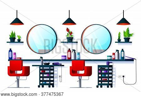 Interior Of Hair Or Beauty Salon, Barber Shop. Vector Interior With Hairdresser Chairs, Mirrors And