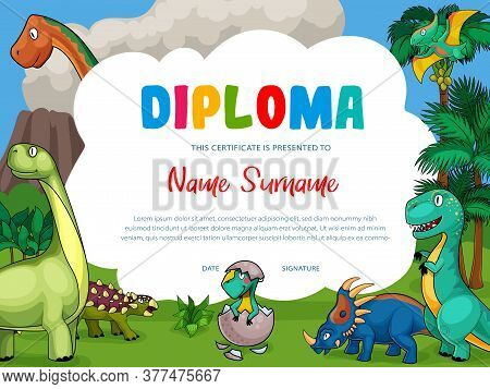 Kids Diploma With Cartoon Dinosaurs, Cute Vector Dragons, Funny Baby Dino Characters. School Certifi