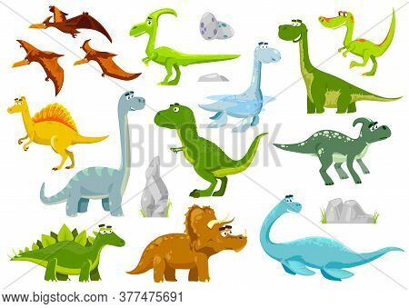 Cartoon Dinosaurs, Vector Dragons, Cute And Funny Baby Dino Characters. Isolated Fantasy Colorful Pr