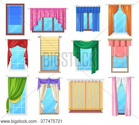 Windows With Curtains And Jalousie, Vector Interior Design Elements. Plastic Windows Frames With Fab