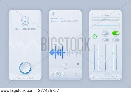 Neomorphic Interface For Vector Music Player Mobile Application. Ui Recorder App Play, Pause, Remote