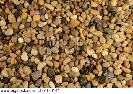 A Closeup Full Frame View Of Some Evenly Lit Washed Clean River Stones That Are Used As A Landscapin
