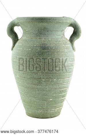 An Isolated Over White Image Of A Green Clay Vase.