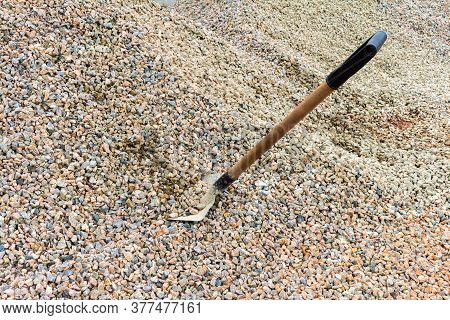 Small Broken Stones Used For Construction. Natural Material For Columns And Bases Of Buildings. Poin