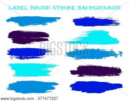 Craft Label Brush Stroke Backgrounds, Paint Or Ink Smudges Vector For Tags And Stamps Design. Painte