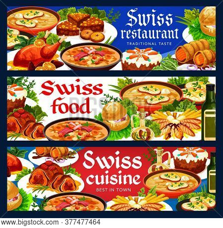 Swiss Food Cuisine Vector Chicken In Dough, Duck With Orange And Bread Cake. Swiss Pearl Barley And