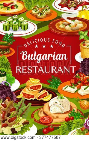Bulgarian Cuisine Restaurant Food With Vector Dishes Of Vegetable And Meat Soups, Yogurt Salad And P