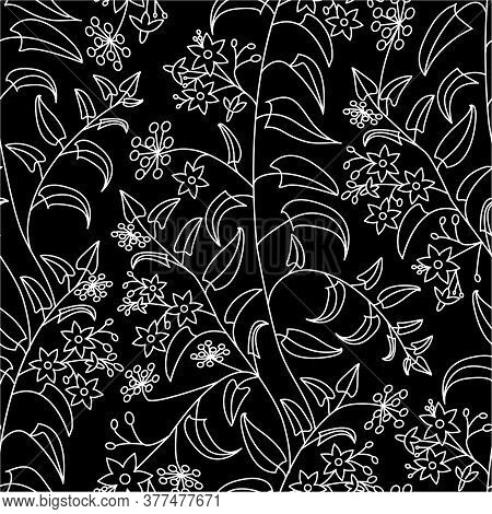 Nightshade. Floral Decorative Pattern. Seamless Pattern Of White Outline On A Black Background