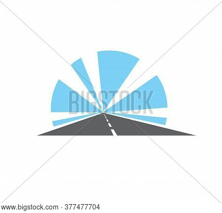 Highway, Road Isolated Pathway Vector Icon. Two Lane Straight Asphalt Speedway Going Into The Distan