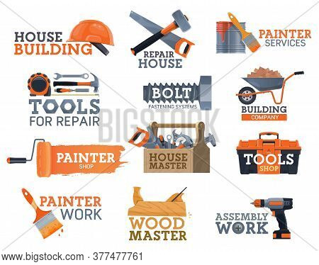 Work Tools Of House Repair And Construction Industry Vector Icons. Carpentry, Home Renovation, Diy A