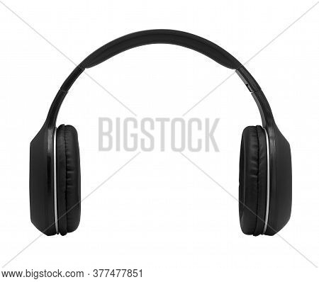 Black Headphone Isolated On White Background With Clipping Path - Image,closeup