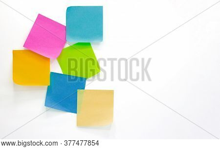 Collection Of Different Colored Sheets Of Note Papers Isolated On White Background,post It Notes,col