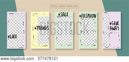 Social Stories Cool Vector Layout. Online Shop Luxury Invitation Apps. Trendy Sale, New Arrivals Sto