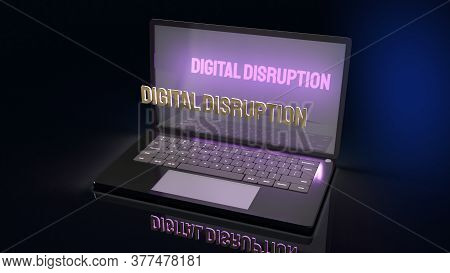 The Digital Disruption On Laptop  For Technology Content 3d Rendering.