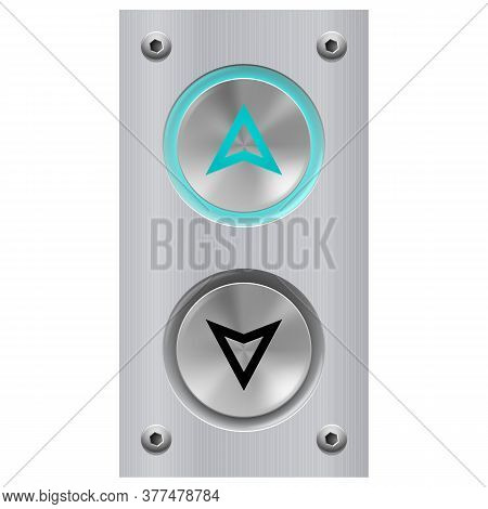 Elevator Call Buttons For Building Up And Down Each Floor, Push-button With Arrow Symbol Displayed O