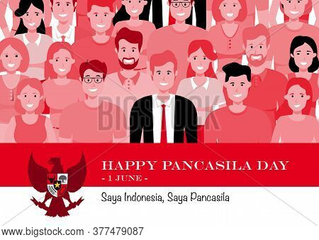 An Illustration Of Diversity Of Indonesian People. Pancasila, Marks The Date Of Sukarno's 1945 Addre
