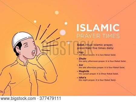 An Illustration Of A Man Calling For Ritual Islamic Prayer Time