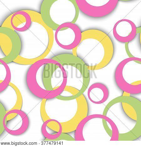 Circle Rings Modern Geometric Seamless Pattern. Circular Shapes Baby Clothes Fasion Textile Print. R