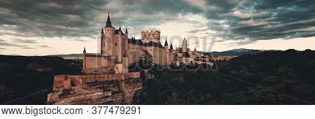 Alcazar of Segovia panorama as the famous landmark in Spain.