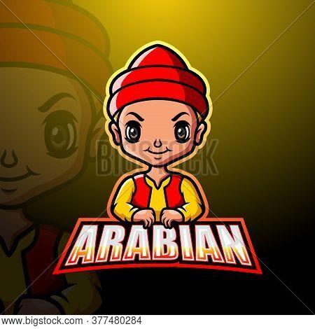 Vector Illustration Of Arabian Man Mascot Logo Design