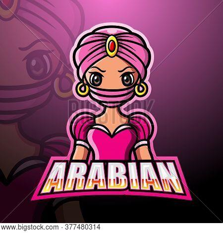 Vector Illustration Of Arabian Girl Mascot Logo Design