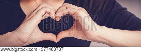 Woman Making Hands In Heart Shape Sign, Heart Health Insurance,social Responsibility, Gratitude,dona