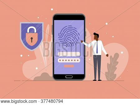 Mobile Fingerprint Security Protection, Security Smartphone App Sign, Screen Shield Flat Icon, Mobil