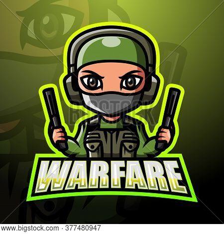 Vector Illustration Of Warfare Mascot Esport Logo Design