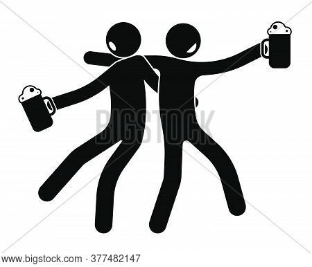 Stick Figure, Two Drunken Comrades, Friend Return Drunk From A Beer Restaurant, Pub. Mugs With Alcoh