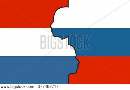 Image Relative To Politic And Economic Relationship Between Netherlands And Russia. National Flags I