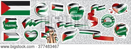 Vector Set Of The National Flag Of Palestine In Various Creative Designs