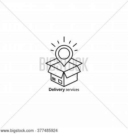 Delivery Services, Opened Box, Relocation Concept, Cargo Shipment Icon. Vector On Isolated White Bac