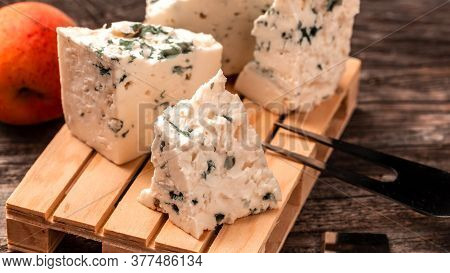 Dorblu Cheese, Danish Blue Cheese On Wooden Background. Food Recipe Background. Close Up.