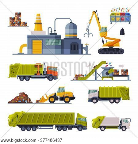 Industrial Garbage Recycling Set, Waste Processing Factory, Garbage Truck, Garbage Collection, Trans