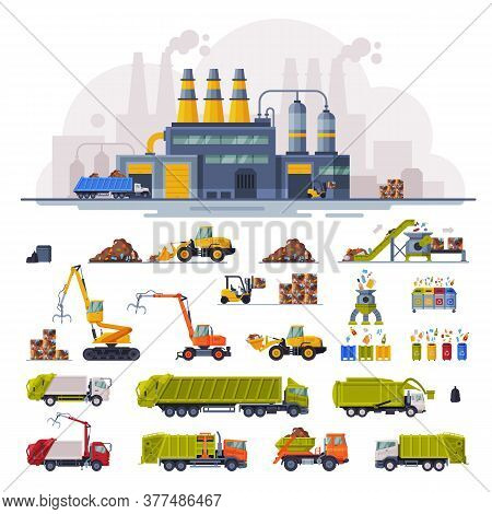 Waste Processing Plant, Industrial Garbage Recycling, Heavy Machinery Vehicles For Garbage Transport