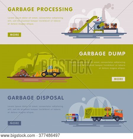 Garbage Processing, Dump, Disposal Landing Page Templates Set, Waste Processing Factory, Industrial